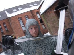 Keith practising armoured combat in the snow. Photo by Reinis Rinka, 2012.