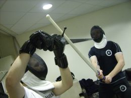 Training with synthetic longswords. Photo by Keith Farrell, 2012.