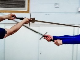 Training with the longsword. Photo by Keith Farrell, 2019.