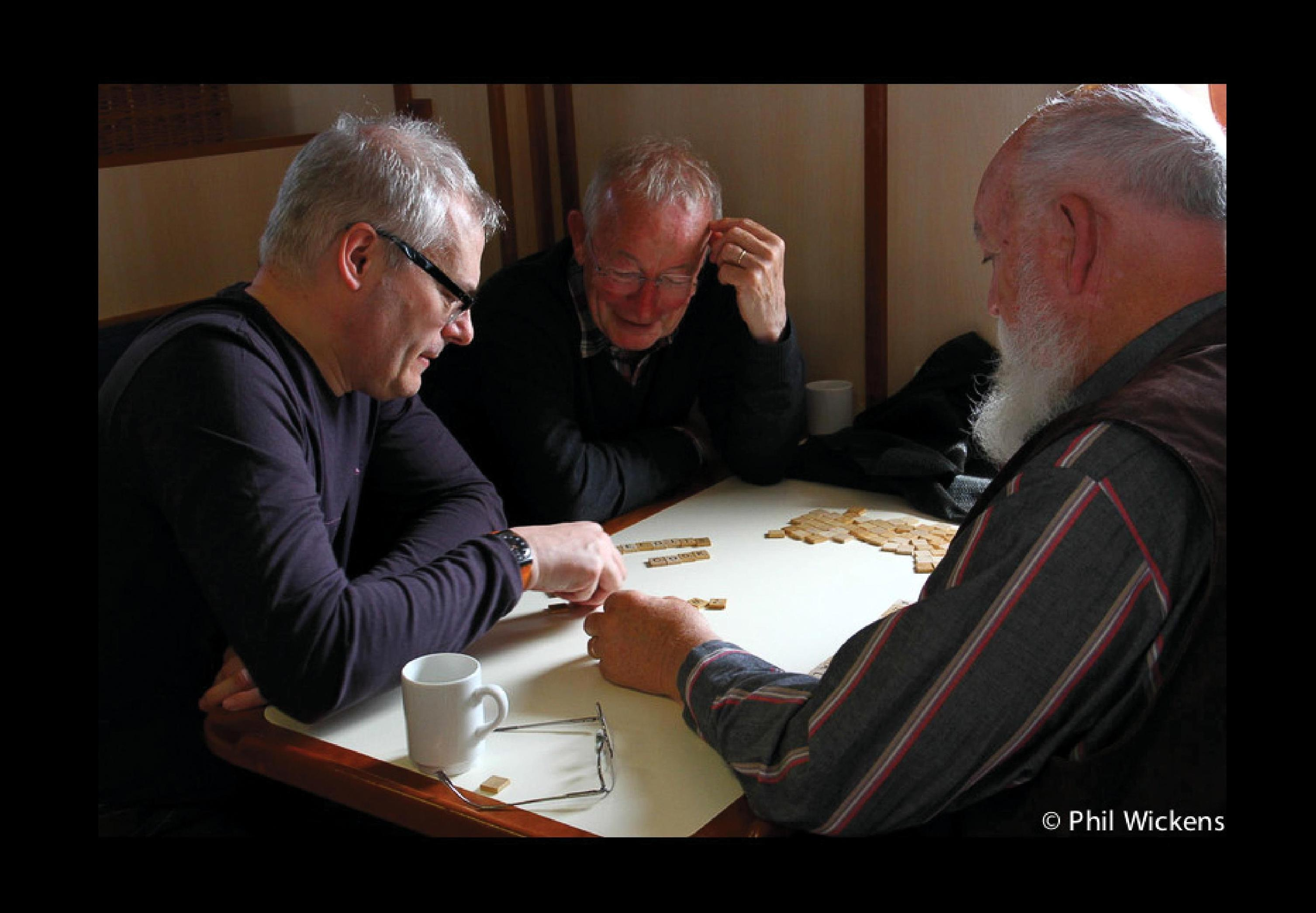 Keith playing a word game with Nicholas Humphrey and Daniel Dennett