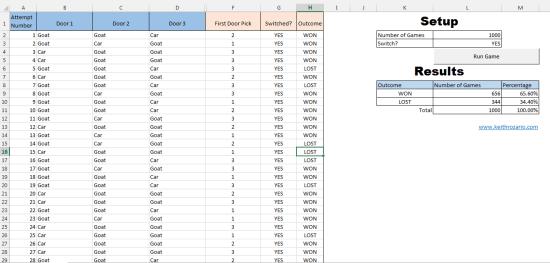Monty Hall Problem Excel