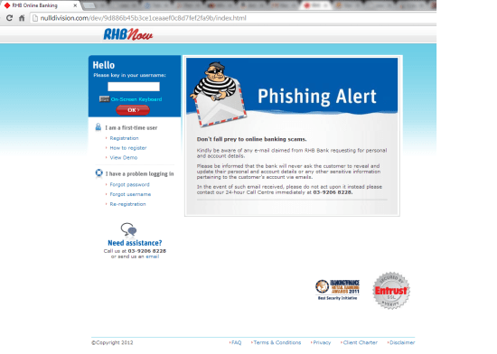 RHB Phishing Website Scame