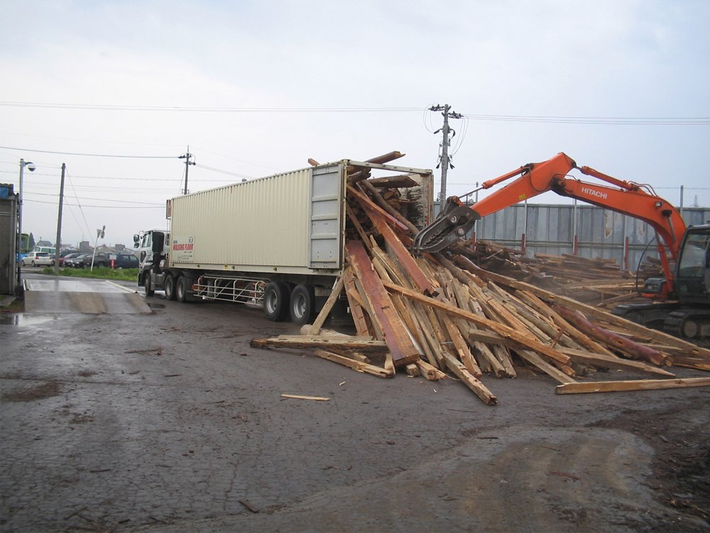 Unloading Recycled Wood