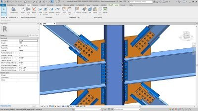 Revit model with connecting steel beams