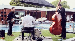 live music band in a spa with garden