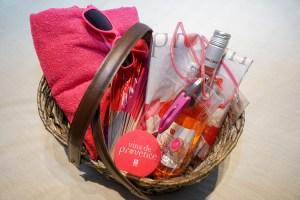 picnic basket with bottle of rosé