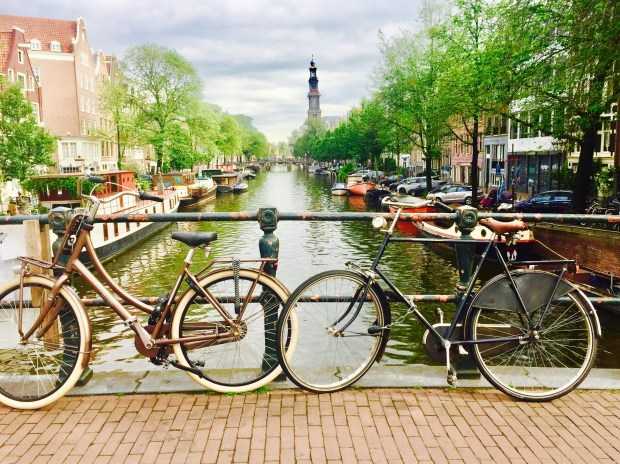 Bikes on a bridge in Amsterdam
