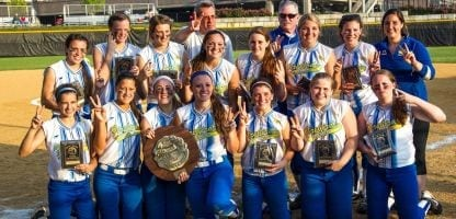Photo credit: ULI SEIT | Kellenberg's celebrates after winning the championship against Font Bonne 8-2 in the CHSAA softball state finals at Queens College in Flushing.
