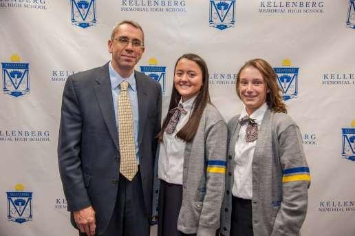 Pictured L to R: Mr. Kenneth Conrade, Adrianna Duggan, and Sarah Massoni, National Merit Award semi-finalists