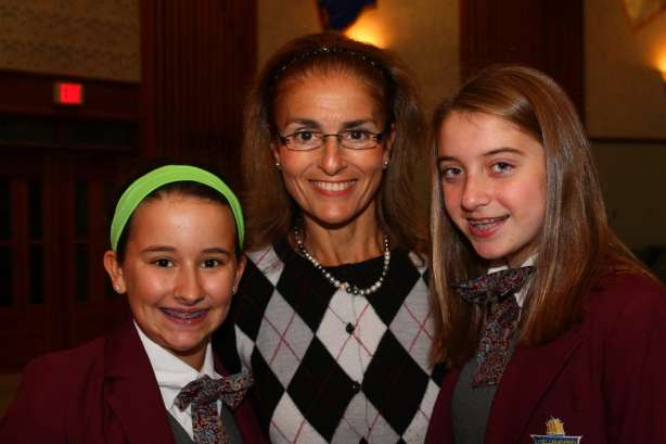 Pictured L to R: Spelling Bee winner Kristen Mangiapanello, Mrs. Clara Villani, and runner-up Kasey Kennedy