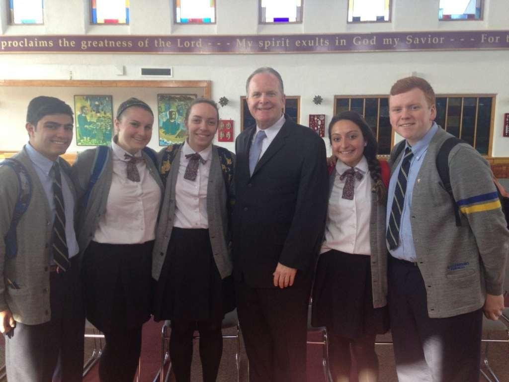 Attorney Mr. Richard Kerins, Esq. with Kellenberg Memorial High School seniors.