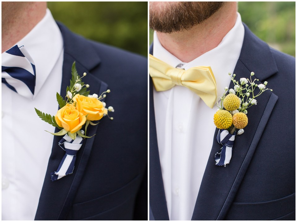 yellow roses and billy ball boutonniere