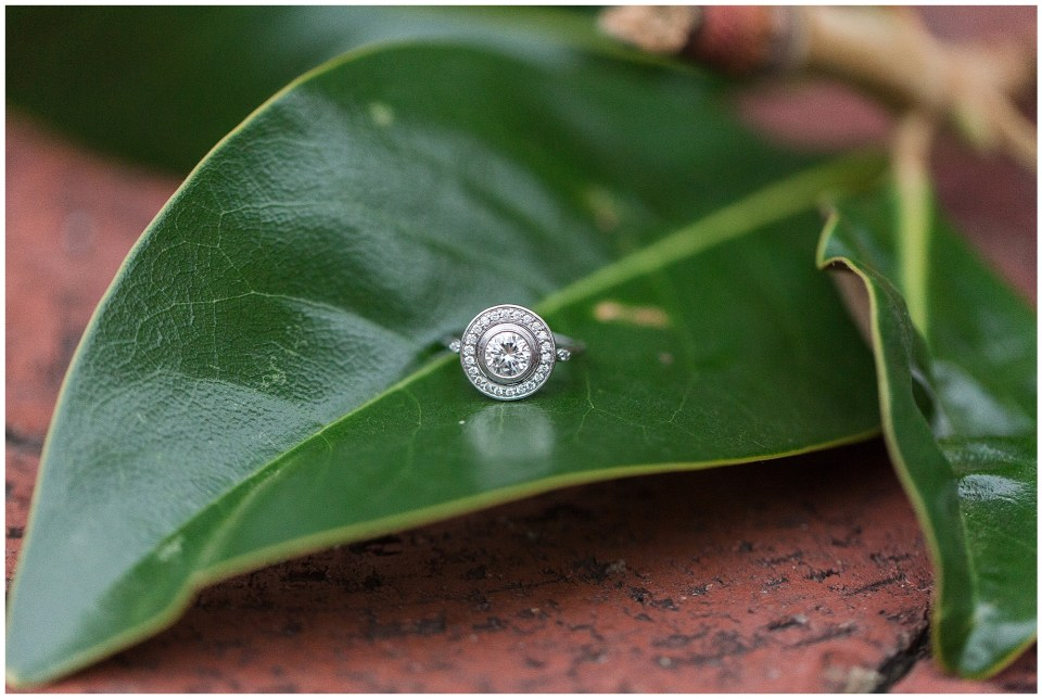 engagement ring on magnolia leaf