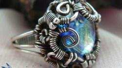Aurora Borealis Dichroic Glass Wire Wrapped Ring