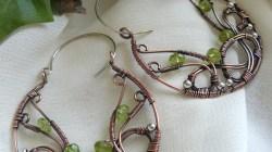Celtic Knot Copper Wire Wrapped Hoop Earrings