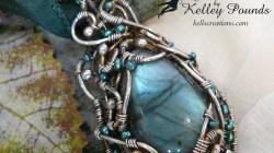 Fine Silver and Labradorite Wire Wrapped Pendant