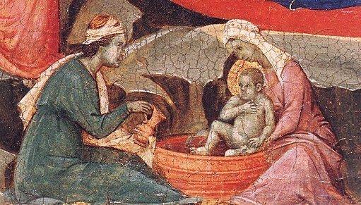 Detail of the bath of Jesus on the Duccio Maesta Nativity