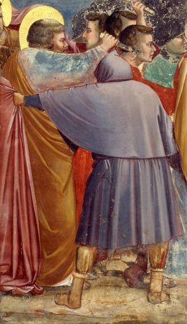 detail The Betrayal of Jesus by Giotto, also known as The Kiss of Judas