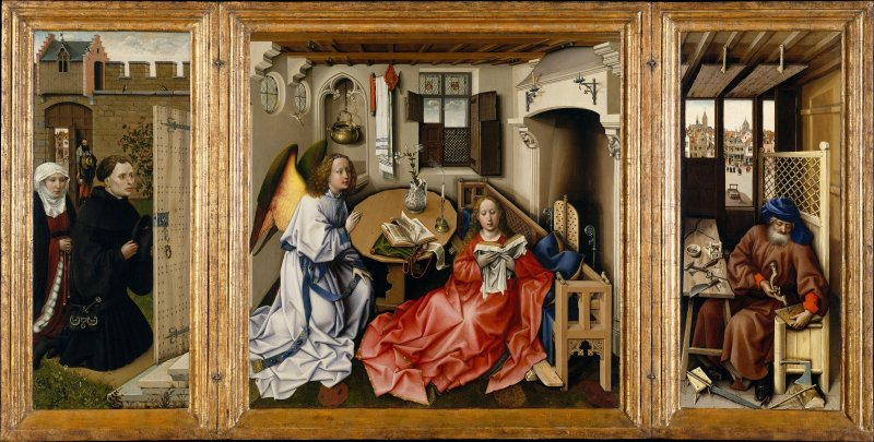 Robert Campin's Triptych The Merode Altarpiece. Exploring the HIdden Meanings in the work.