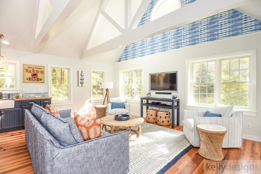 Pound Ridge Pool House - Interior Design by kellydesigns