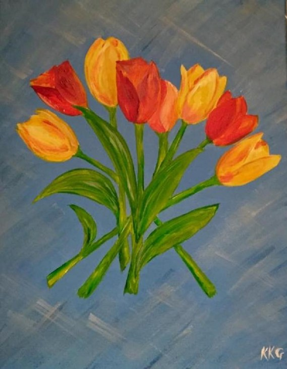 Tulips - acrylics on canvas - Kelly Goss