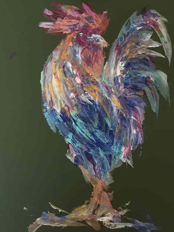 """""""The Fancy Cockerel"""" abstract art - acrylics on board - Kelly Goss Art"""