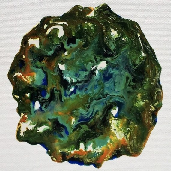 """Evergreen"" abstract - Pebeo mixed media on canvas board - Kelly Goss Art"