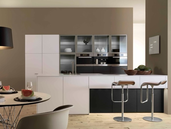 Minimalist Modern Kitchen with Frosted Glass Cabinets