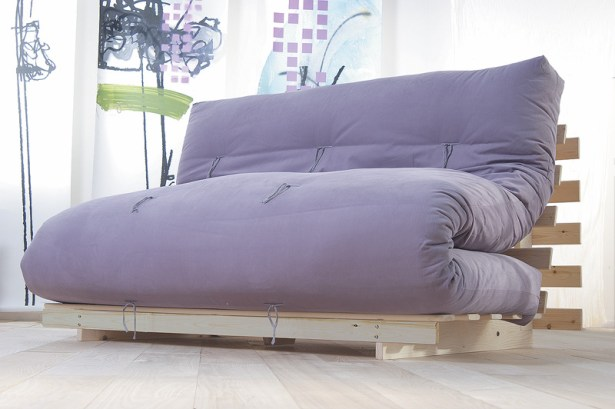Futon Sofa Bed in Beige Microfiber