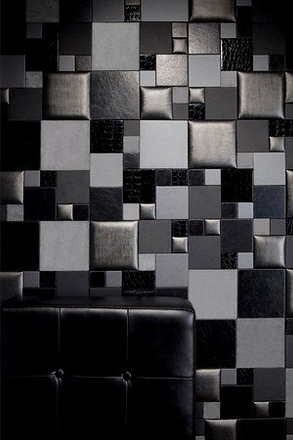 Black and White Faux Leather Tiles