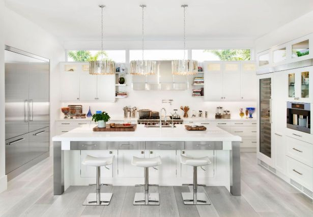 grey and white kitchen All White and Stainless Steel Kitchen Grey Wood Floors 08