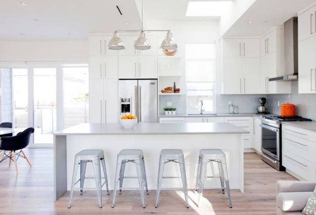 grey and white kitchen White Contemporary Kitchen Light Maple Floors Grey Countertops 10