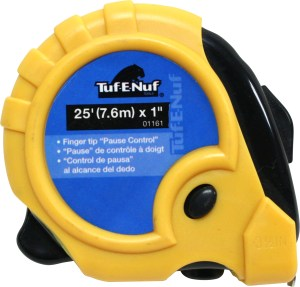 25′ (7.6m) x 1″ Rubber Jacket Tape Measure