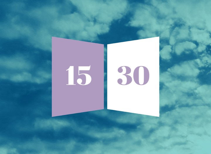 15/30 numbers in an open book image with clouds in the background for august 15th book suggestion