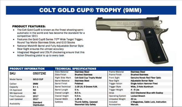 Colt Gold Cup Trophy - Series 70