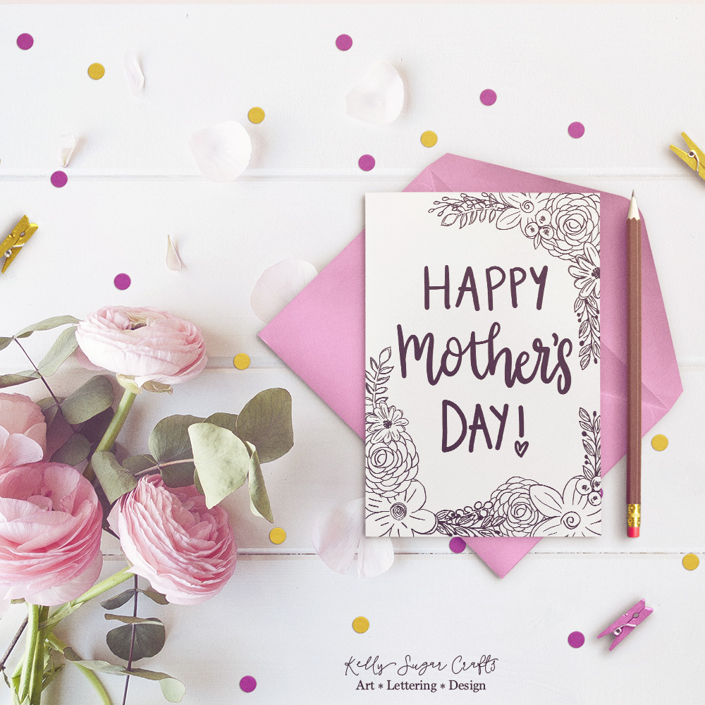 R kelly coloring pages - Free Printable Floral Mothers Day Coloring Page Card By Kelly Sugar Crafts