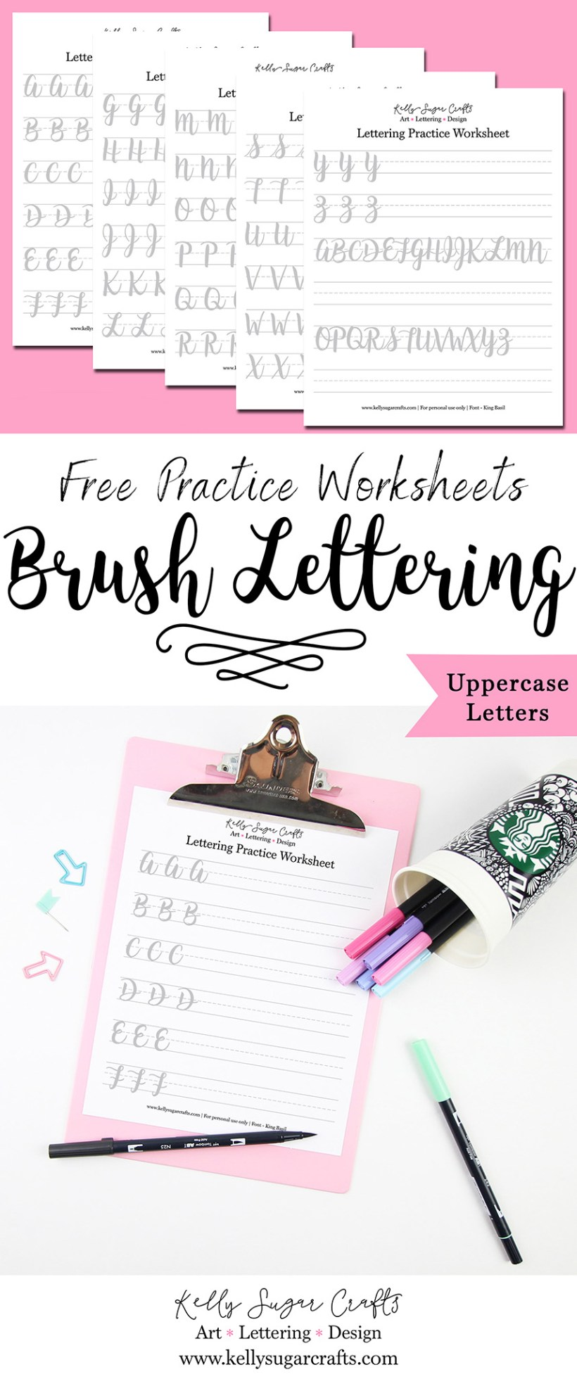 Free Lettering Practice Worksheets Brush Uppercase Letters By Kelly Sugar Crafts