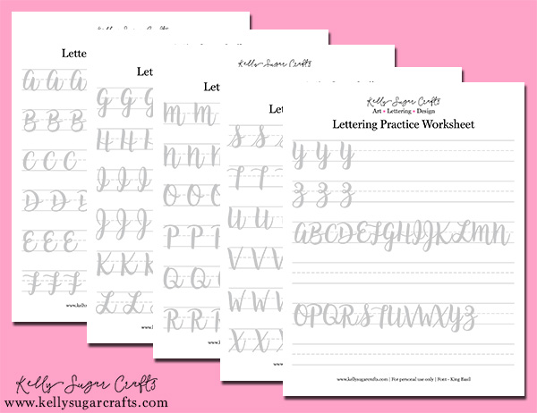 graphic relating to Brush Lettering Practice Sheets Printable identify Brush Lettering Prepare Easy Strokes Worksheets Kelly