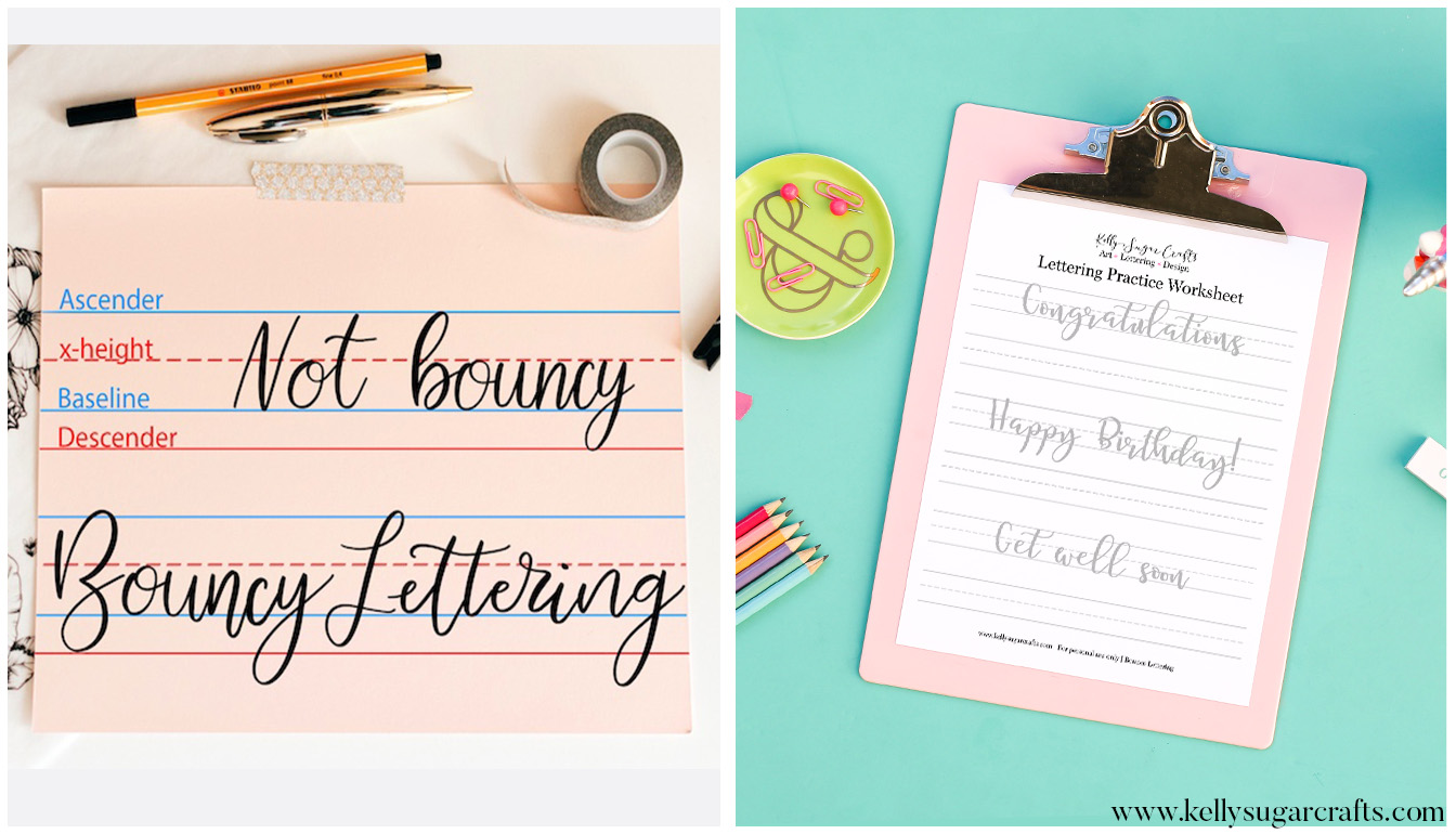 how to bounce lettering   practice worksheets