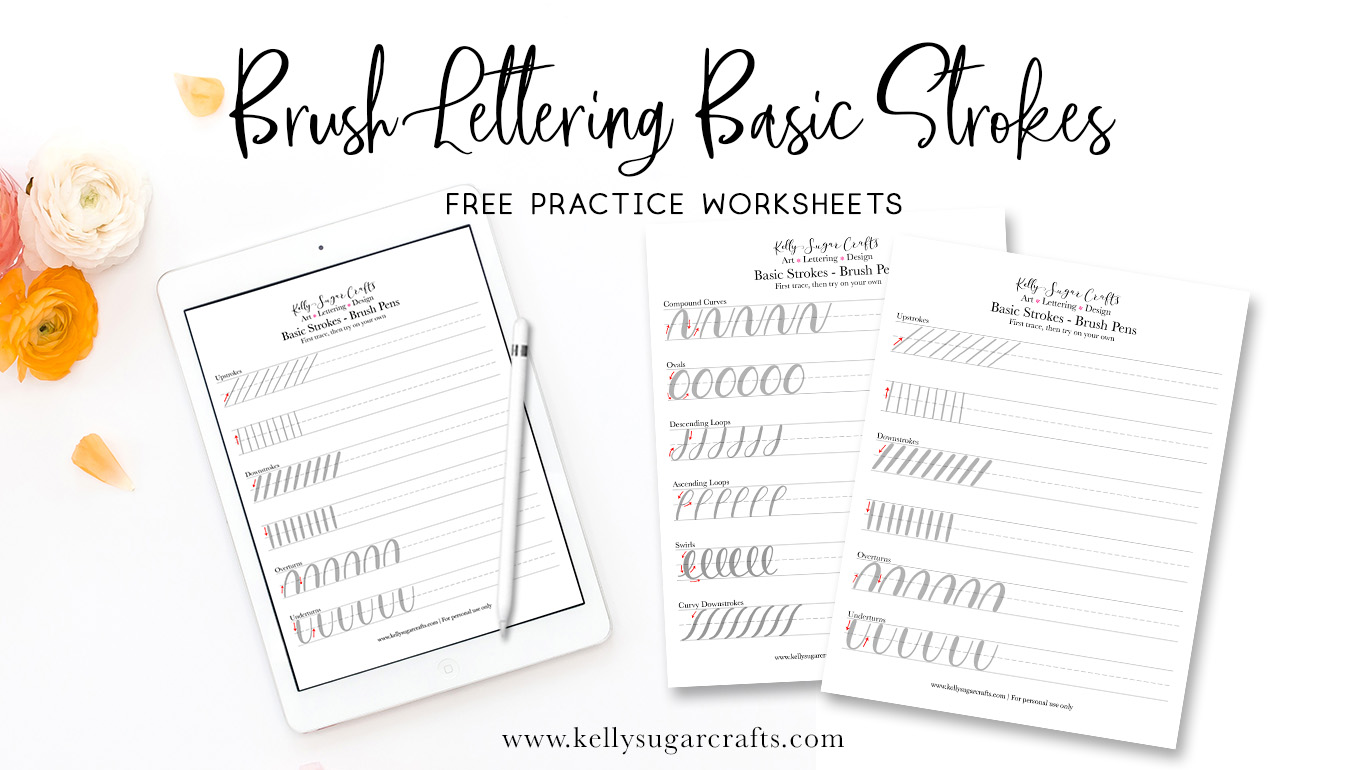 graphic relating to Brush Lettering Practice Sheets Printable named Brush Lettering Train Very simple Strokes Worksheets Kelly