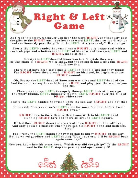 Christmas Game Read Story Pass Gift | Creativepoem.co