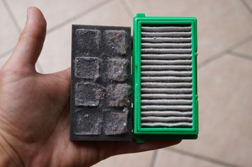 filtre hepa et mousse du robot aspirateur rowenta