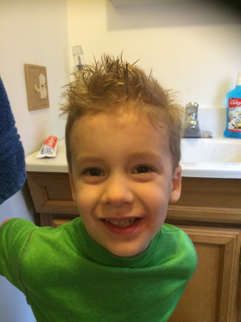 "Dillon's new haircut, post donation of 9""."