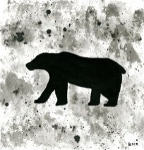 "Polar bear - ink wash 5x5"""