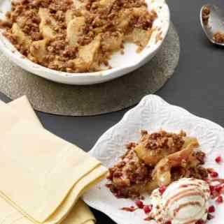 Pear Crumble with Pomegranate Sauce