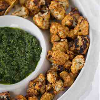 Roasted Tandoori Cauliflower with Cilantro Chutney