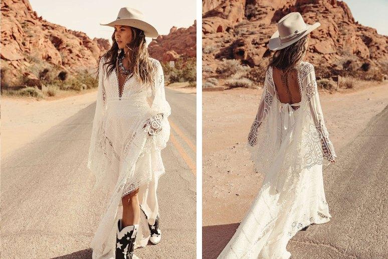 harvest moon rue de seine wedding dress worn by cowboy bride in the desert