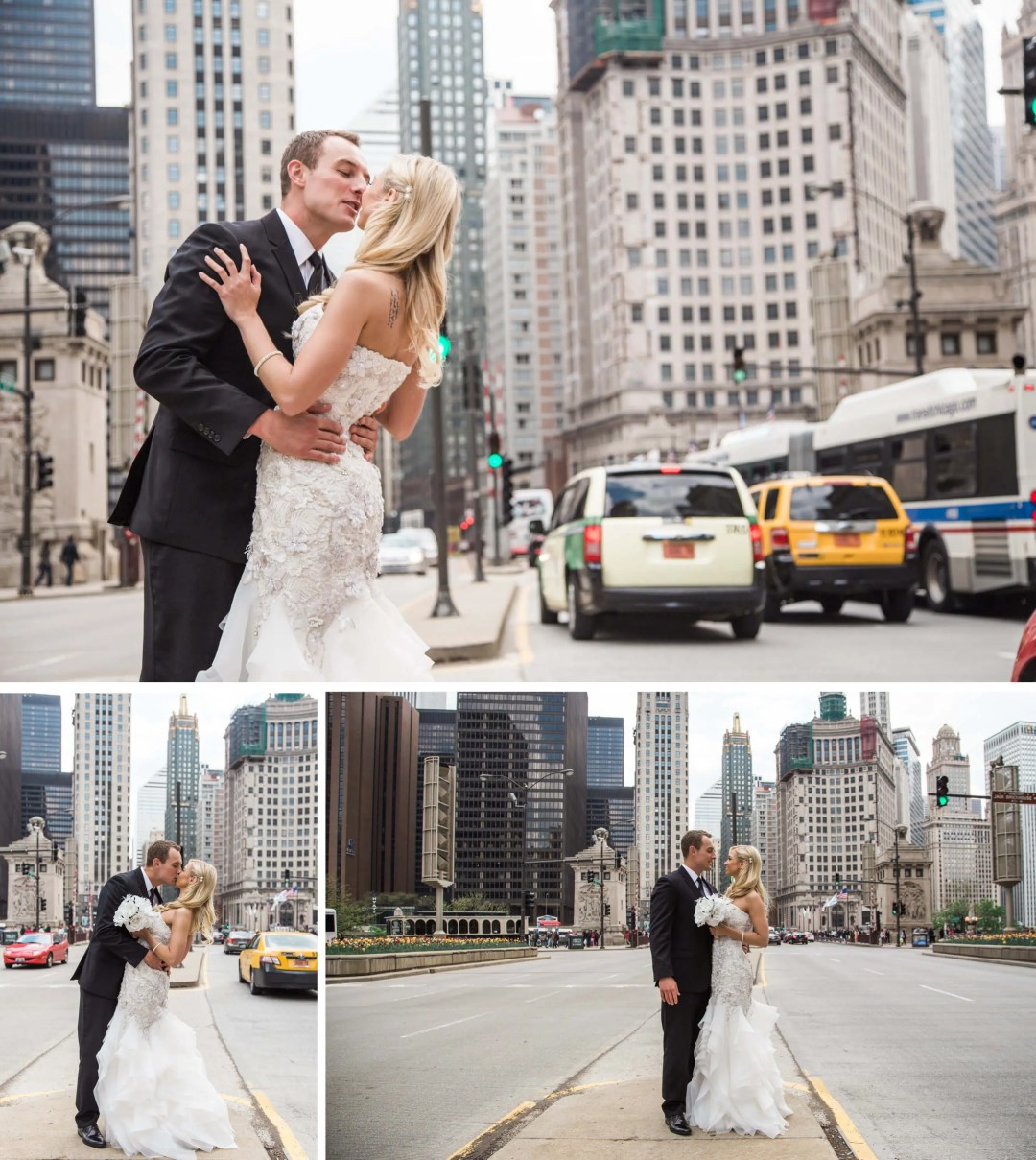 Wedding couple in streets of downtown Chicago _ Brighton Wedding Photographer