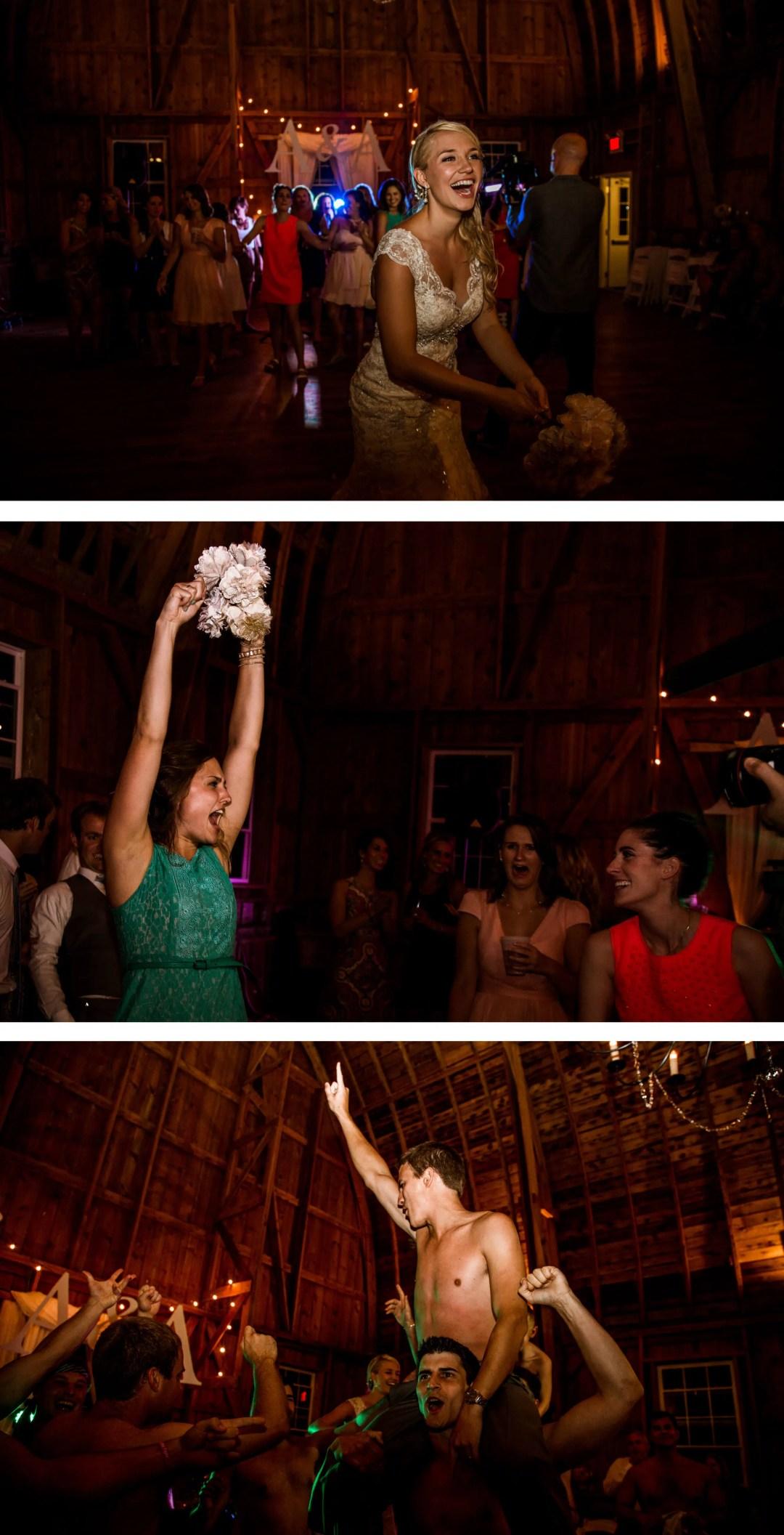 Sussex wedding photographer -Barn reception bouquet toss
