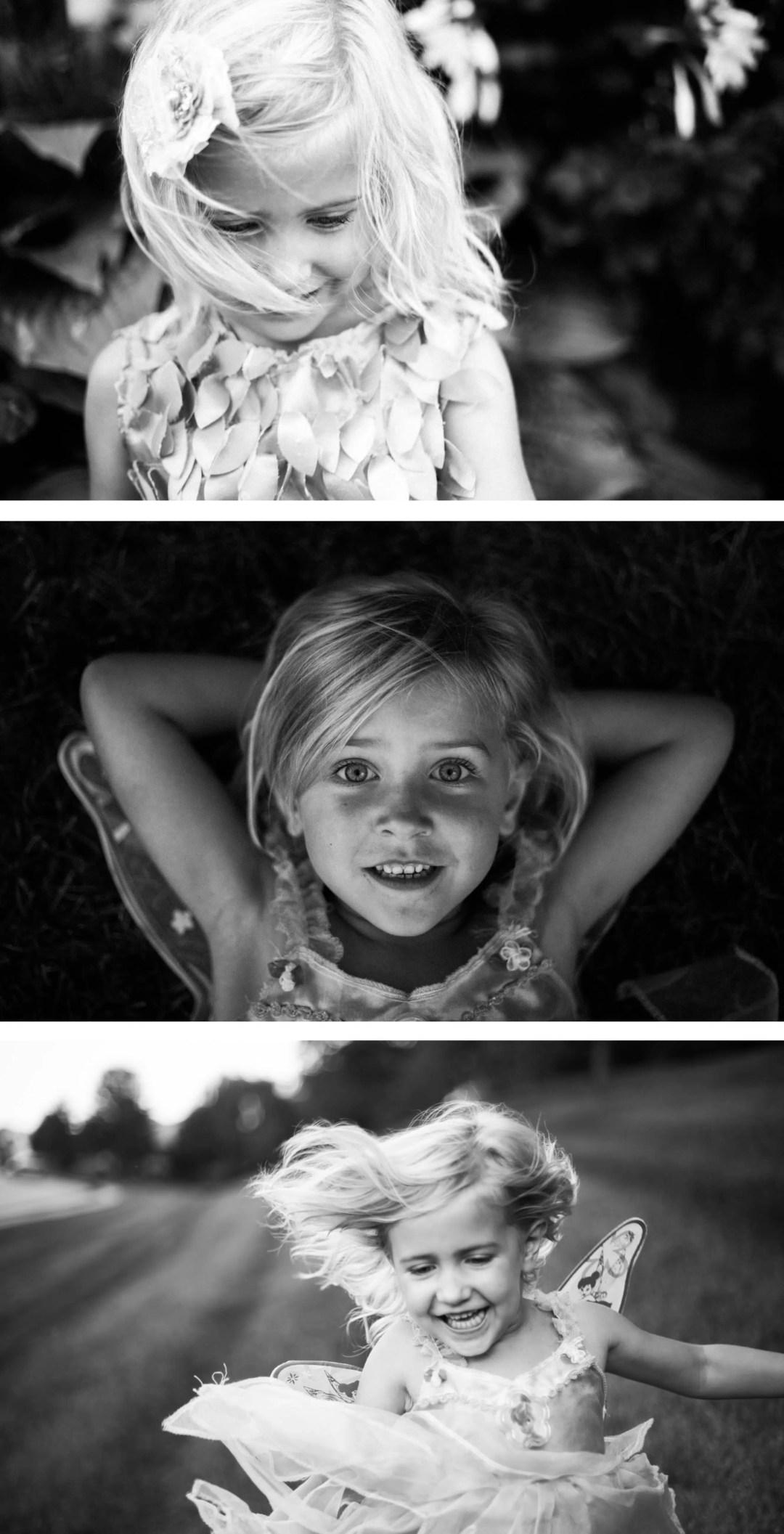 Documentary family photography of girl running